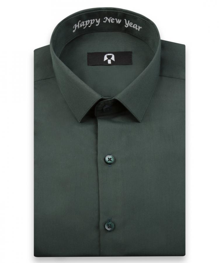 'Happy New Year' Nakışlı Haki Yeşili Yılbaşı Hatıra Gömleği