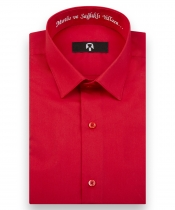 'Mutlu ve Sağlıklı Yıllara' Nakışlı Kırmızı Yılbaşı Hatıra Gömleği